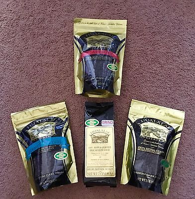 PESTICIDE Manumit * 4 Bags HUALALAI ESTATE 100% KONA HAWAIIAN COFFEE PEABERRY DECAF
