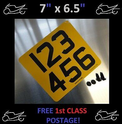 "7""x 6.5"" MOTORCYCLE MOTORBIKE NUMBER PLATE 100% MOT & ROAD LEGAL 6 digit only!!!"