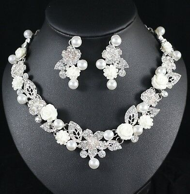 Daisy Pearl Crystal Rhinestone Necklace Earrings Set Wedding Bridal Prom N103 Crystal Daisy Necklace Earrings