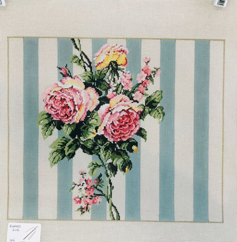 Sandra Gilmore once blue moon Hand painted Needlepoint Canvas Romantic Roses