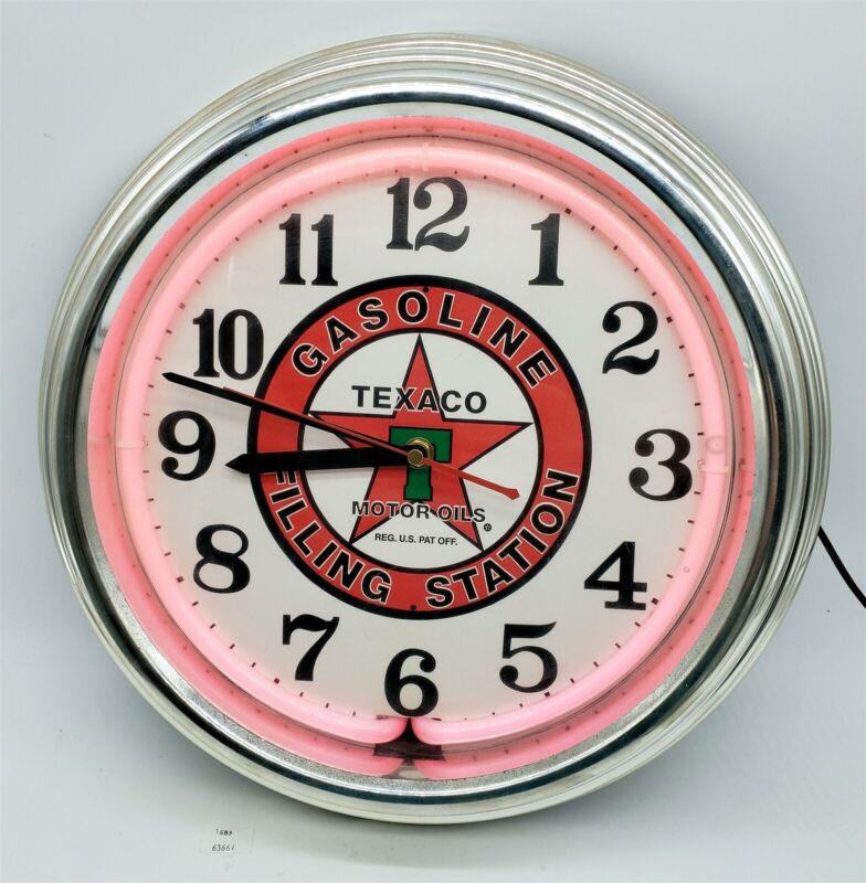 Thriftchi ~ Texaco Gasoline Filling Station Wall Clock Changing Neon Colors
