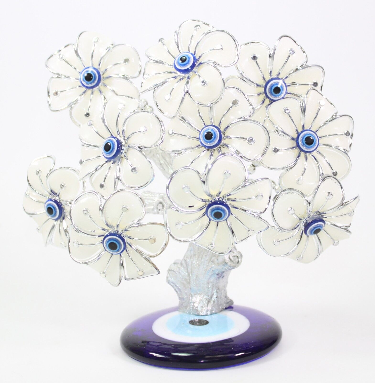 Details about Turkish Blue Evil Eye White Flowers Money Fortune Tree  Protection Good Luck Gift