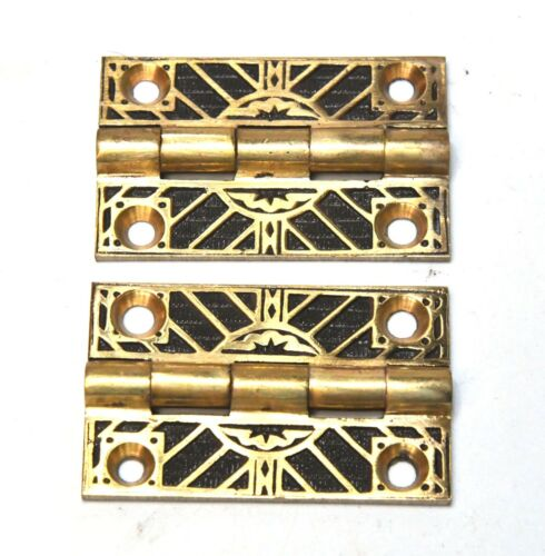 2 VINTAGE BRASS ART DECO HINGES ARCHITECTURAL SALVAGE  2 x 1 1/4 IN
