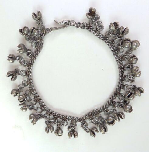 "VTG ANKLE CHAIN Bracelet Bells Belly Dance BOHO Gypsy Silver Metal 10.75"""
