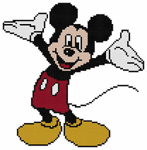Counted Cross Stitch Pattern, Mickey Mouse - Free US Shipping