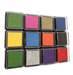 Stempelkissen bunt 12er Set 12 verschiedene Farben Stempel Kissen