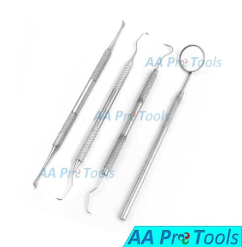 Dental Tartar Calculus Plaque Remover, Tooth Scraper, Dental Mirror & Scaler Set