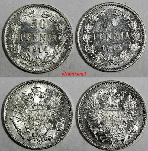 Finland Nicholas II Silver LOR OF 2 COINS 1914 S 50 Penniä UNC KM# 2.2 (17 396)