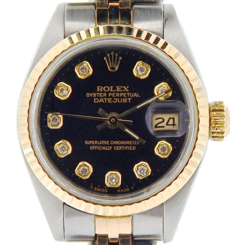 Rolex Datejust Ladies 2tone Yellow Gold Steel Watch Black Diamond Dial 6917