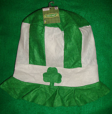 SAINT/PATRICK'S/DAY~unisex/childs~GREEN/&/WHITE/FELT/HAT! (5/YRS/&/UP) N/W/TAGS! ()