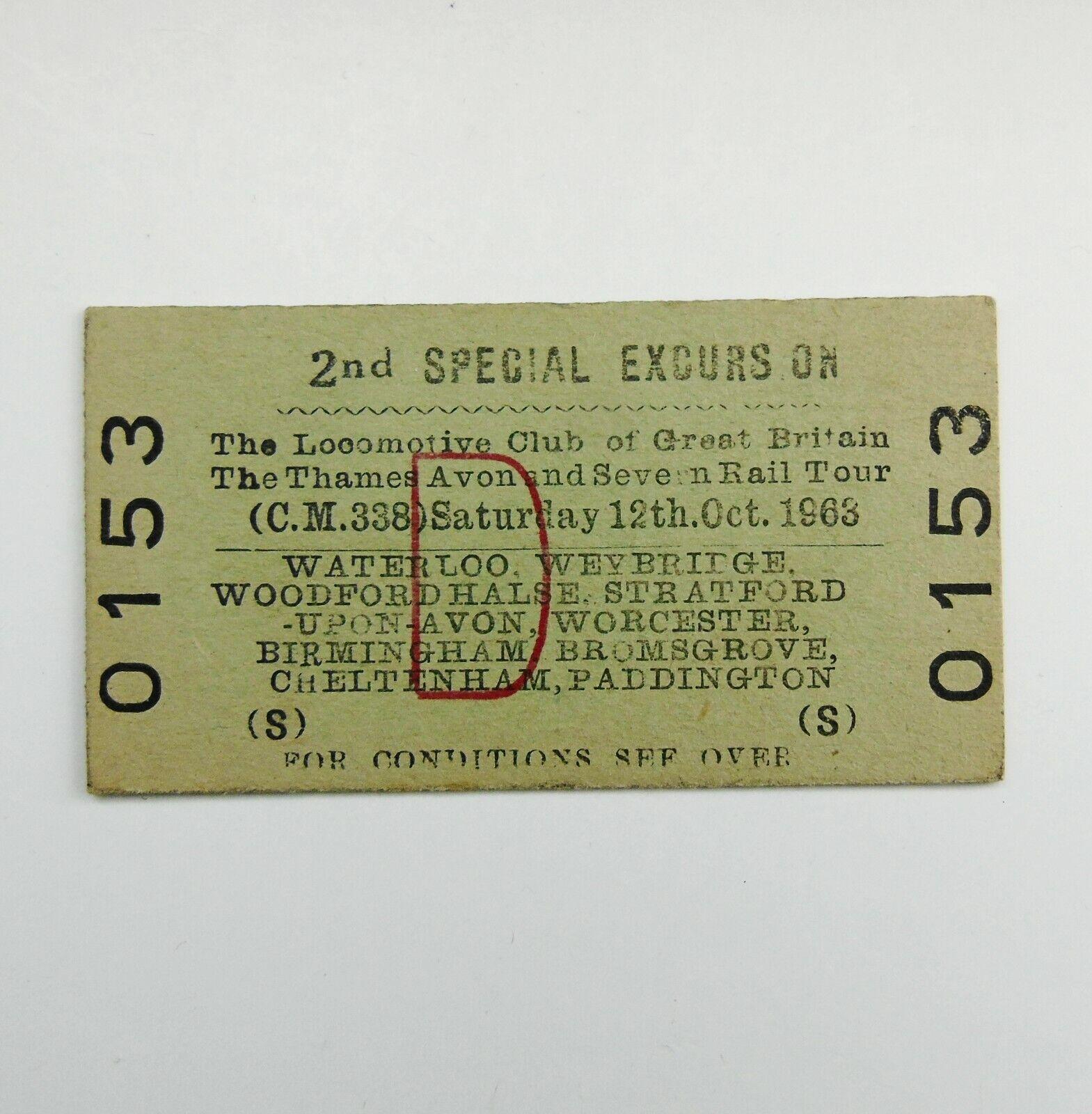 BR The Thames Avon and Severn Rail Tour 1963 Railway Ticket LCGB