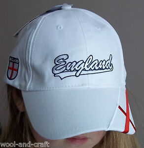 ENGLAND FOOTBALL CAP HAT WHITE + ENGLAND CROSS ON SIDE PEAK(A225)WORLD CUP 2014