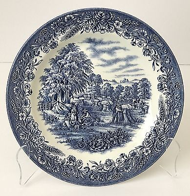 """Churchill Currier & Ives Blue """"Harvest"""" 10 1/4""""  Plate - England - Hand Engraved"""