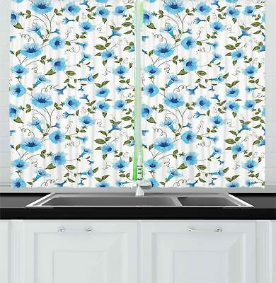 "Aqua Kitchen Curtains 2 Panel Set Window Drapes 55"" X 39"" Am"