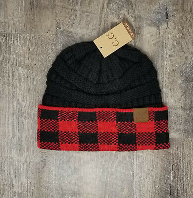 CC C.C Beanie Buffalo Plaid Red & Black Soft Cable Knit Skully Hat Stocking Cap Buffalo Plaid Hat