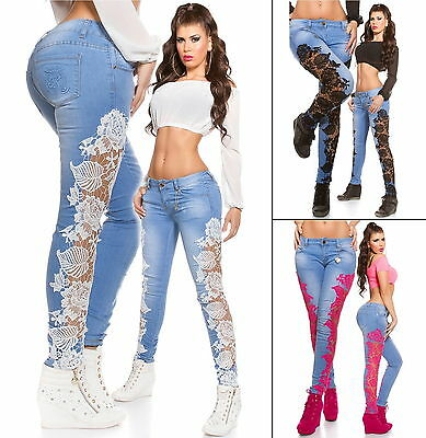Women's Side Lace Embroidery Denim Skinny Jeans - XS/S/M/L/XL
