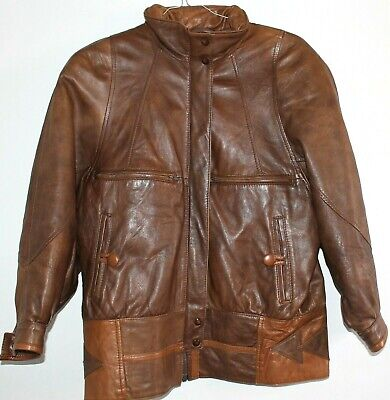 Used, FINNISH FASHION Womens Brown Vintage 80s Leather Jacket Coat Size 32 UK 12 /14 L for sale  Shipping to Nigeria