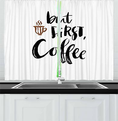 "Coffee Kitchen Curtains 2 Panel Set Decor Window Drapes 55"""