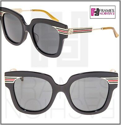 567519353f37 GUCCI WEB 0281 Gold Metal Etched Oversized Black Glitter Sunglasses GG0281SA
