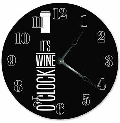 10.5 IT'S WINE O'CLOCK WINE CLOCK - Large 10.5 Wall Clock - Home Décor - 3319