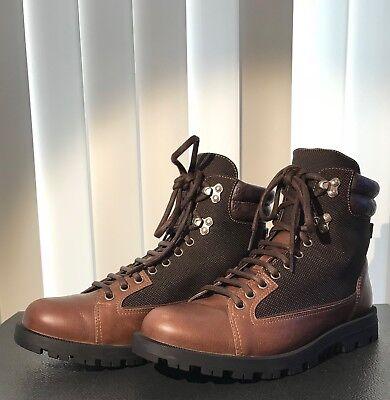Gucci Men's Brown Leather Guccissima GG Web Lug Sole Boot 295321 5 G Brown Mens Lug Sole Boot