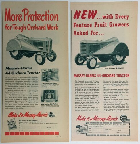 "1950 & 1951 MASSEY-HARRIS 44 ORCHARD TRACTOR, two ads 5-1/2"" x 11-1/4"" each"