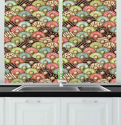 Retro Tea Party Kitchen Curtains 2 Panel Set Window Drapes 5