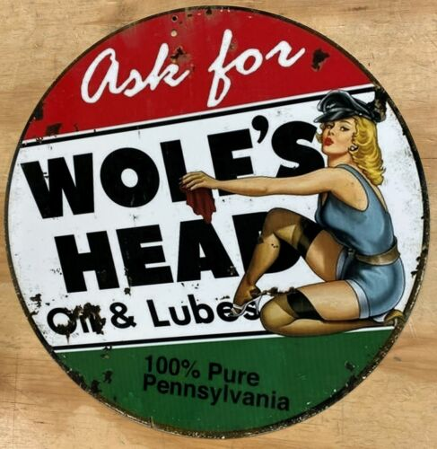 """Wolfs Head Oil & Lubes Pin Up Aluminum Distressed Looking Metal Sign 12"""""""