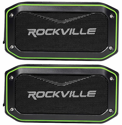 (2) Rockville ROCK ANYWHERE WaterProof Portable Bluetooth Speakers+TWS Linking