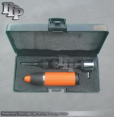 Veterinary Otoscope Set Animal Diagnostic Instruments Orange