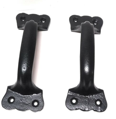 2 Pack Heavy Rustic Handle Pulls Cast Iron Barn Shed Gate Handles Matte Black