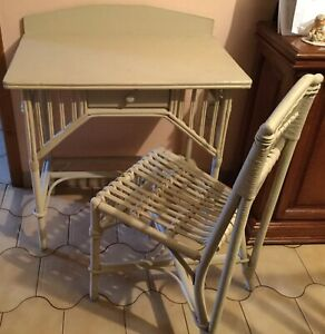 Wicker desk with Chair  With Cushion
