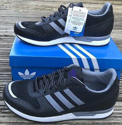 NEW ADIDAS ORIGINALS MARATHON 88 BLACK LEATHER AND SUEDE TRAINERS UK 9
