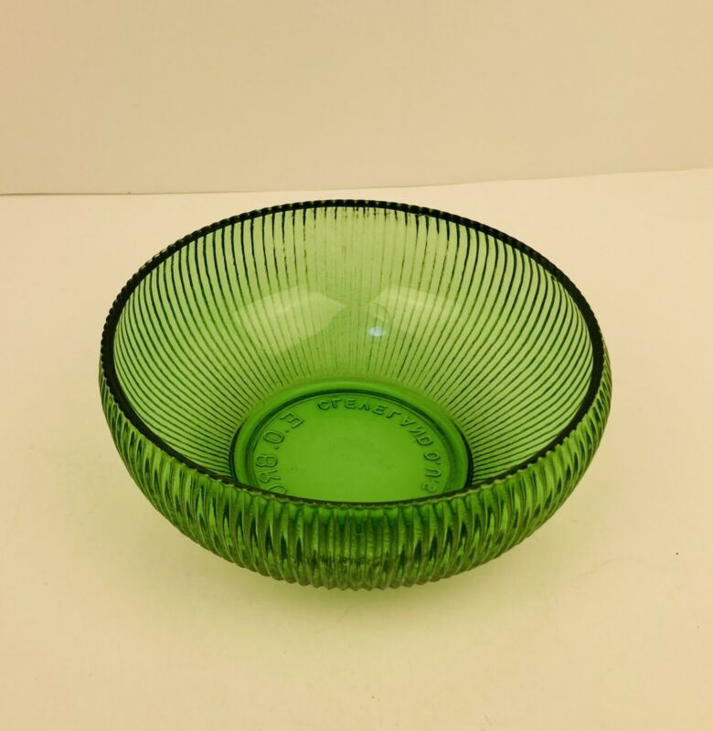 Vtg EO Brody Co Green Ribbed Round Glass Dish Cleveland OH USA Tiny Flea Bites