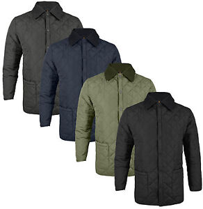 New-Soul-Star-Mens-Diamond-Quilted-Jacket-S-M-L-XL-XXL-Navy-Black-Khaki-Coat