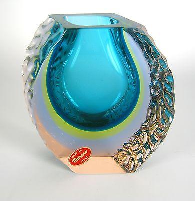 Mandruzzato Sommerso Glas Vase Murano Italy Venetian Glass Cool ca. 13,5cm