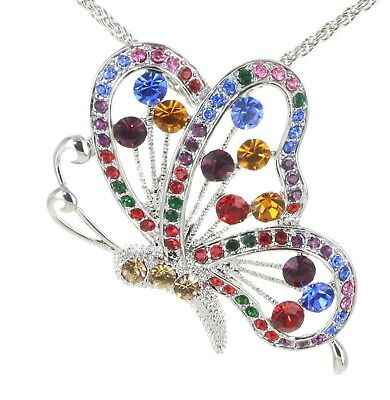 Gold Plated Statement Necklace Multi-Color Austrian Crystal Butterfly Pendant Austrian Crystal Butterfly Necklace