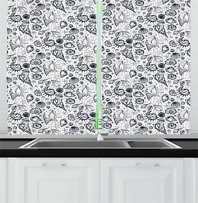 "Sea Shells Kitchen Curtains 2 Panel Set Window Drapes 55"" X"