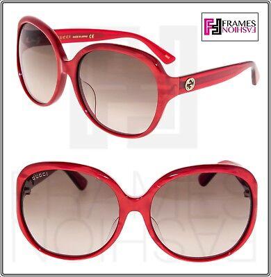 7fd51fb8816a GUCCI 0080 Oversized Red Pearl Gradient Sunglasses GG0080SK Authentic  Designer
