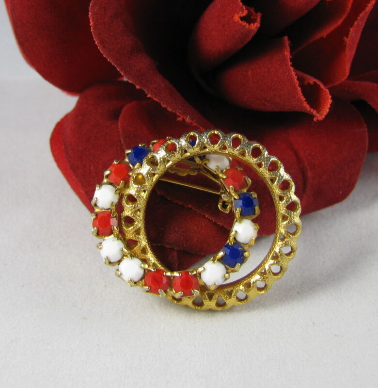 Vintage Patriotic Red White Blue Gold tone  Brooch Pin FERAL CAT RESCUE
