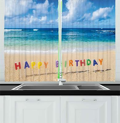 Colorful Birthday Kitchen Curtains 2 Panel Set Window Drapes