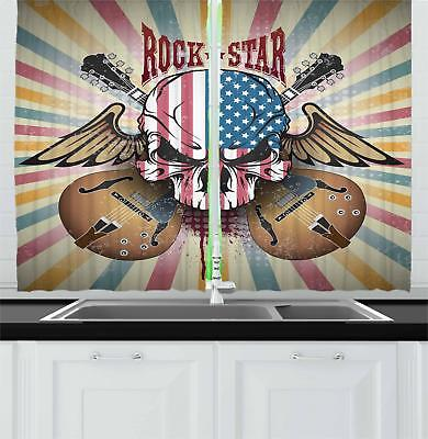 "Rock Guitar Kitchen Curtains 2 Panel Set Window Drapes 55"" X"