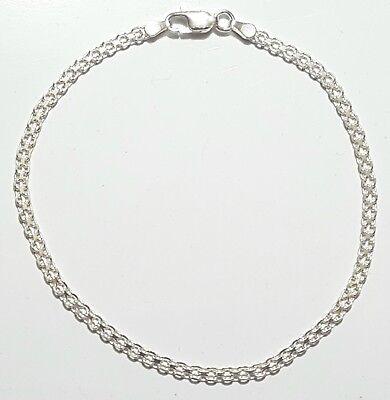 925 Sterling Silver Bismark Link Bracelet 7 inch Long  3 mm wide Made in Italy (Bismark Link)