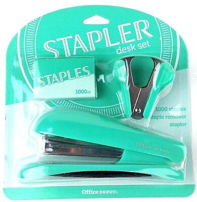 Office Depot Stapler Desk Set New Vibrant Colorful Cheery 1000 Staples Remover