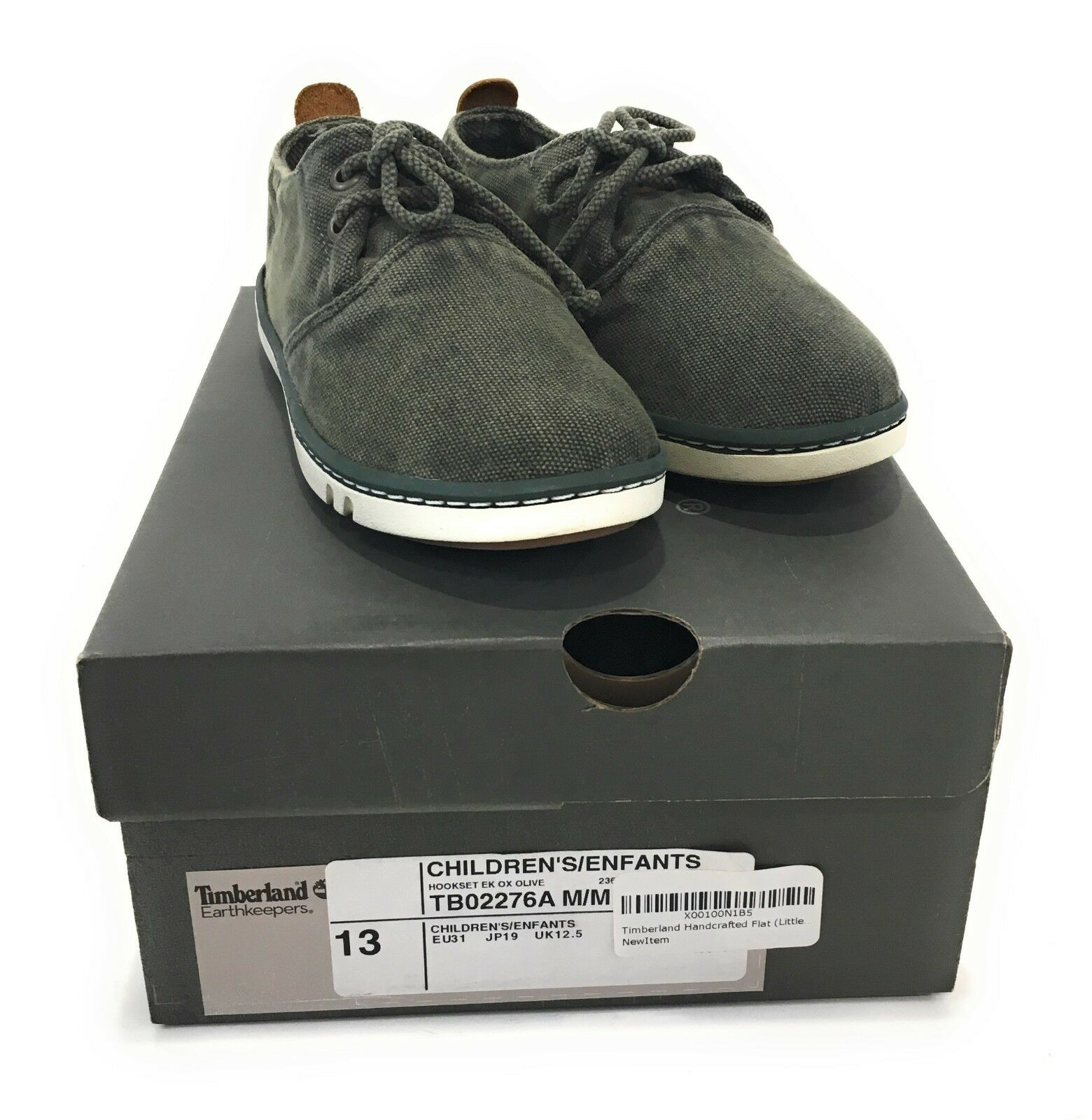 Junior Childrens Boys Infants Timberland Hookset canvas casual shoes trainers 13 1