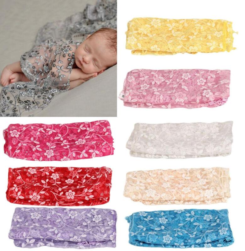 Newborn Baby Girl Lace Wrap Blanket Gauze Kerchief Costume Photography Props New