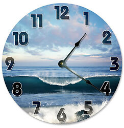 SURFING WAVE CLOCK Large 10.5 inch Wall Clock SURFER OCEAN BEACH - 2123