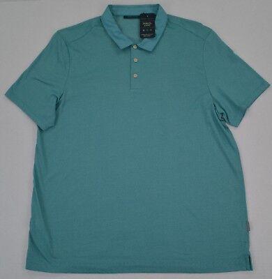 (NWT Men's Perry Ellis Short Sleeve Fine Stripe Polo Shirt Green Blue  XL )