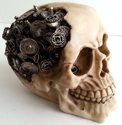 Gear Head Skull Statue Steampunk Figurine Gothic Skeleton Halloween Cyborg