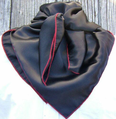 Wild Rag Scarf Western Cowboy Buckaroo Scarves Bandana silky black w/ red